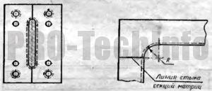 Линии стыка секций матрицы