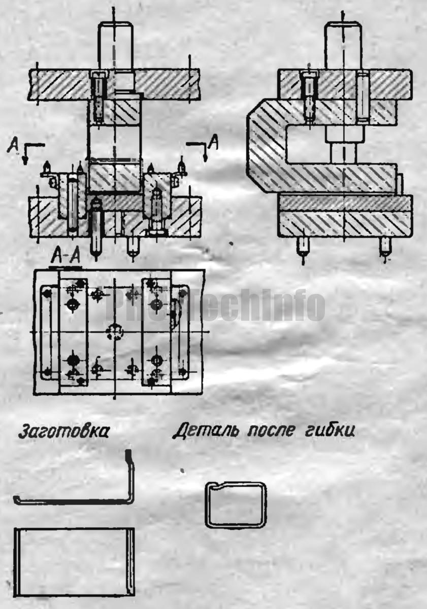 штамп для окончательной гибки различных детали с замкнутым контуром