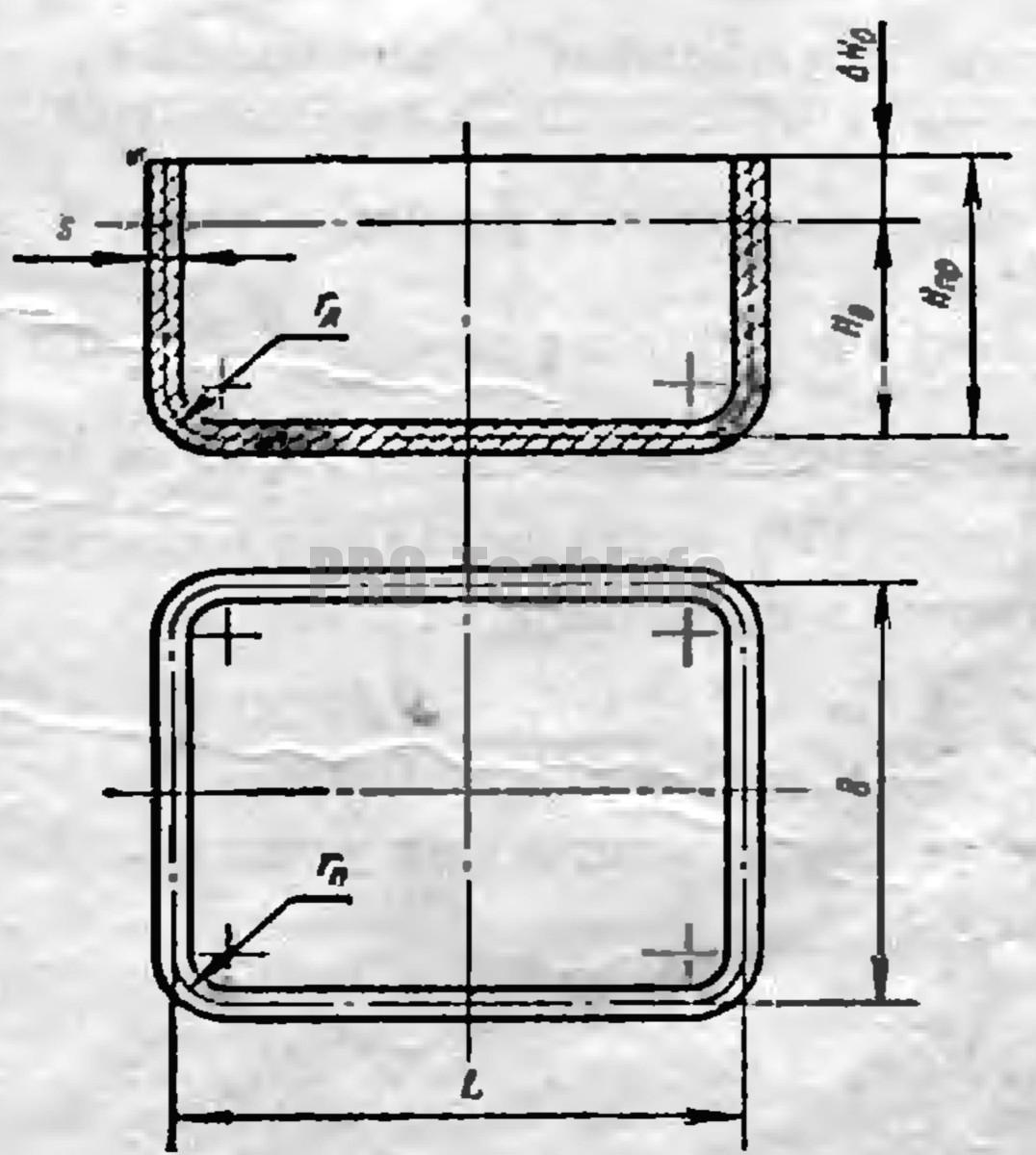конструктивные размеры детали для прямоугольной вытяжки