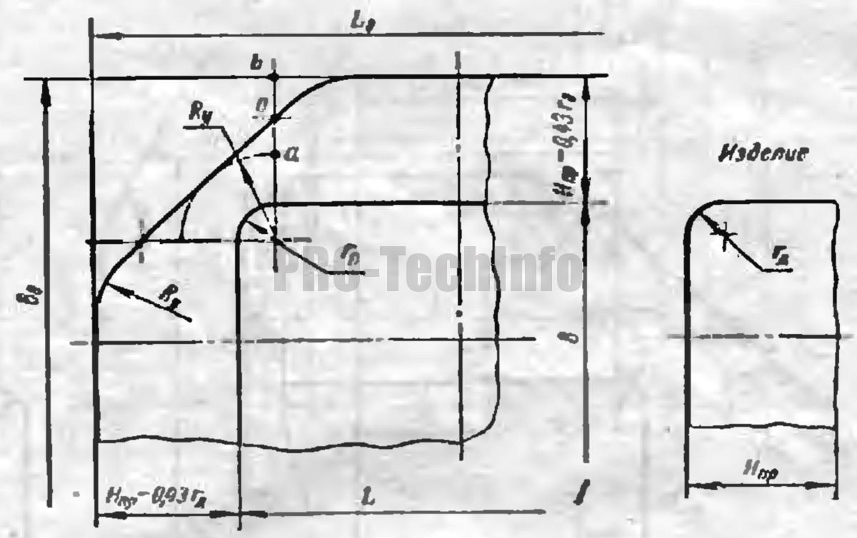 Форма заготовки для вытяжки в одну операцию низких прямоугольных деталей