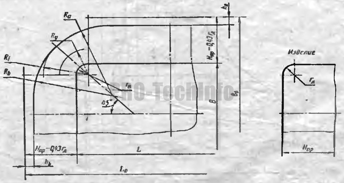 определение заготовки для вытяжки в одну операцию низких прямоугольных деталей