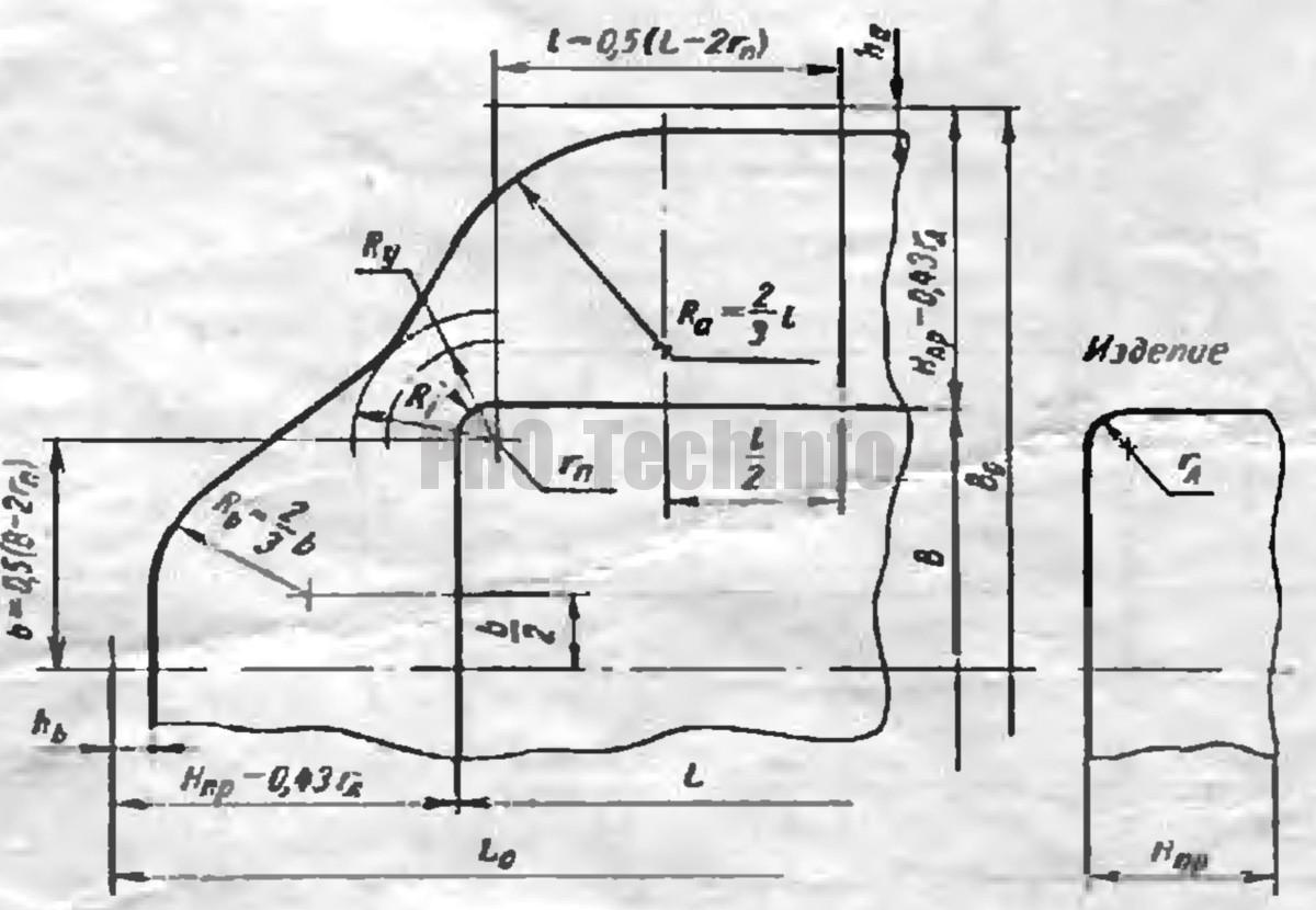 определение заготовки для вытяжки в одну операцию низких прямоугольных деталей 3