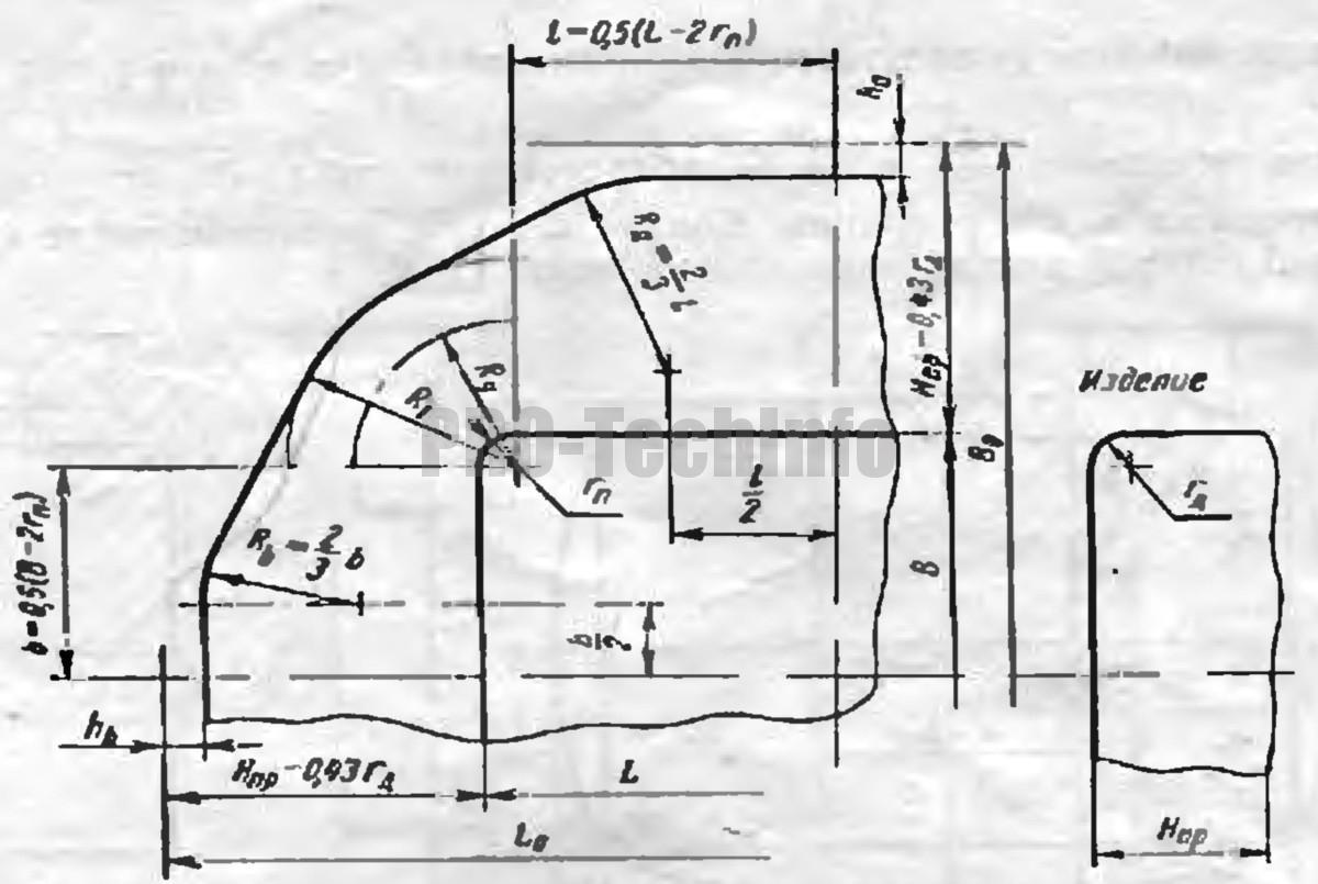 определение заготовки для вытяжки в одну операцию низких прямоугольных деталей 4