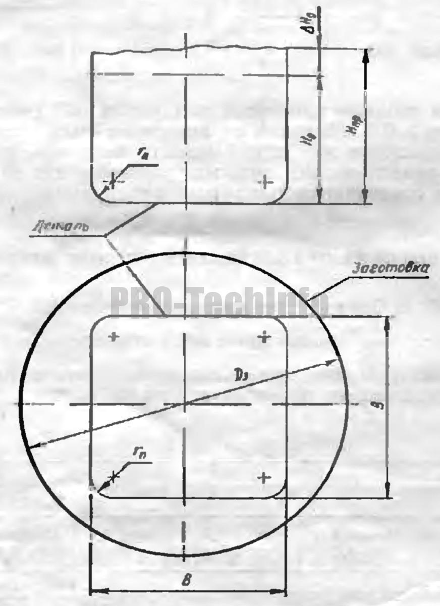 Плоская заготовка для вытяжки квадратных полых деталей