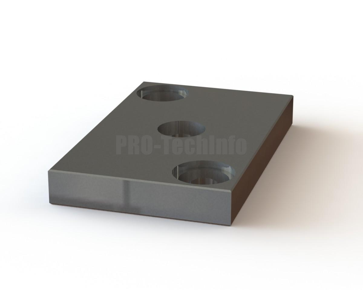 Плита верхняя штампа 200х125х25 с 2 колонками хвостовик 35