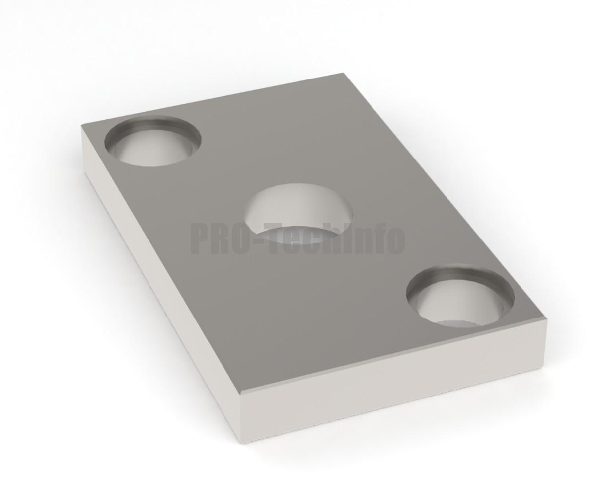 Плита верхняя штампа 200х125х25 с 2 колонками хвостовик 45