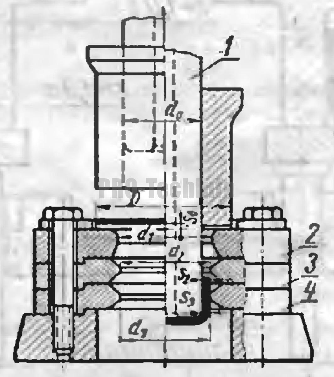 схема штампа совмещенного действия для вытяжки с утонением