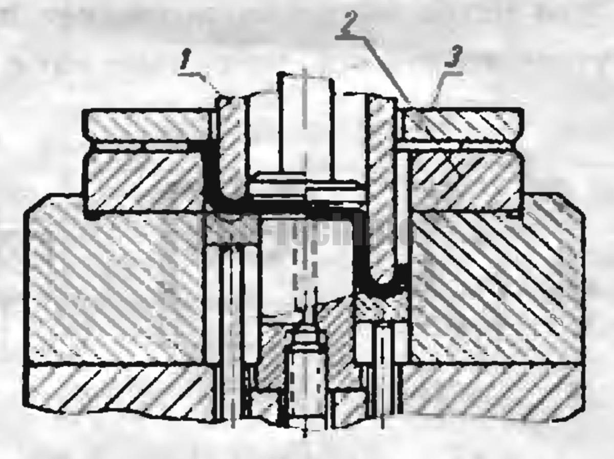 схема штампа для совмещенной вытяжки деталей из плоской заготовки