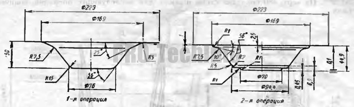 Вытяжка подобных, но более тонкостенных деталей производится в две операции с применением прижима