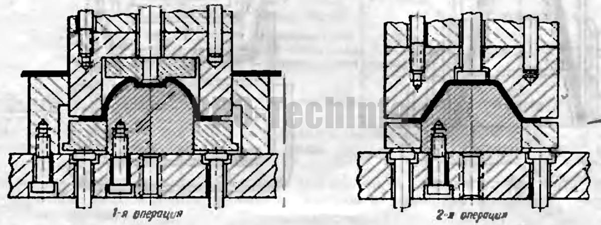 При вытяжке в две операции низких конических деталей с фланцем и углом конусности α>25° 1-й вытяжке целесообразно придать плавную криволинейную форму