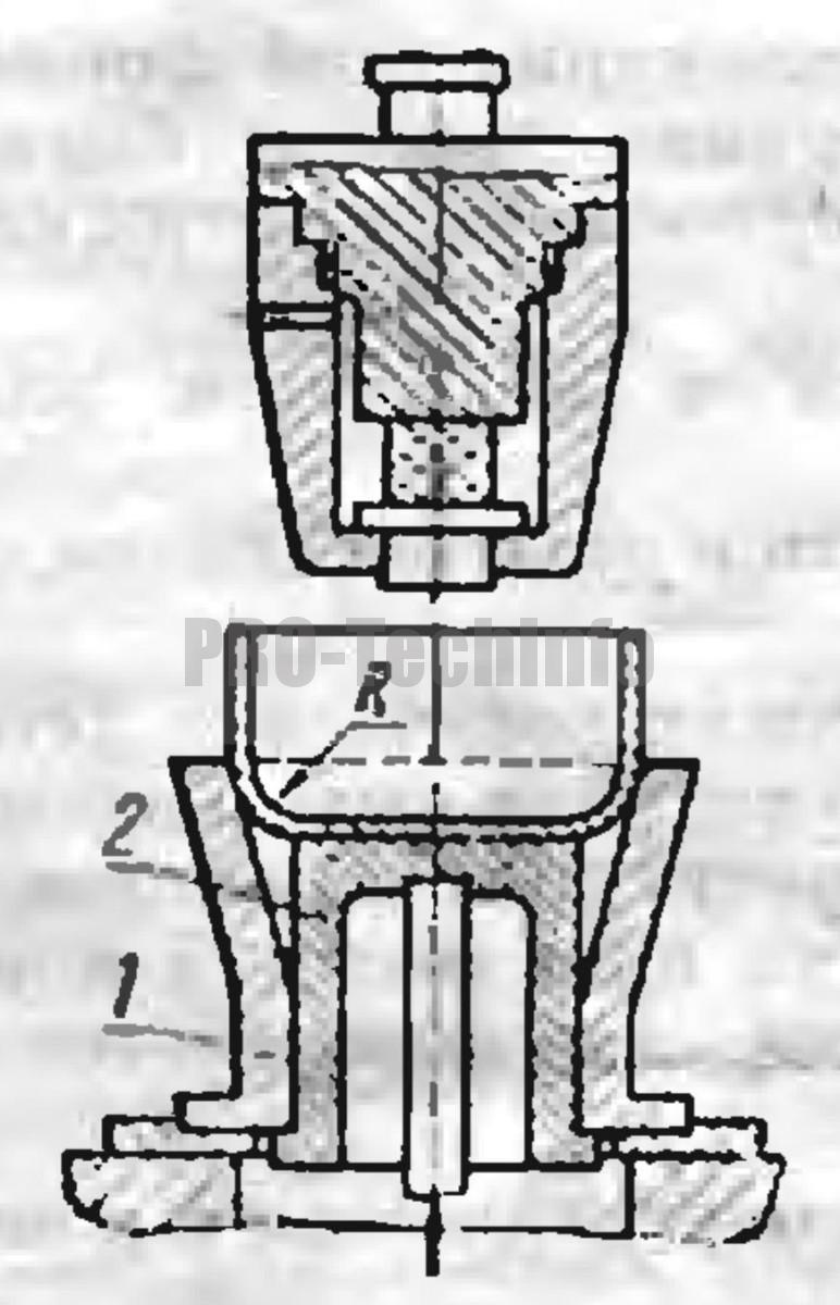 схема штампа для первого перехода конической вытяжки