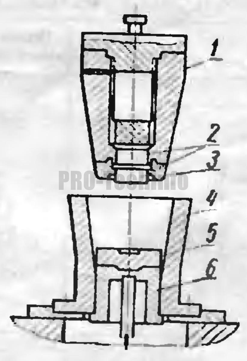 универсальные конические штампы со сменными надставками  пуанасона и нижнего выталкивателя