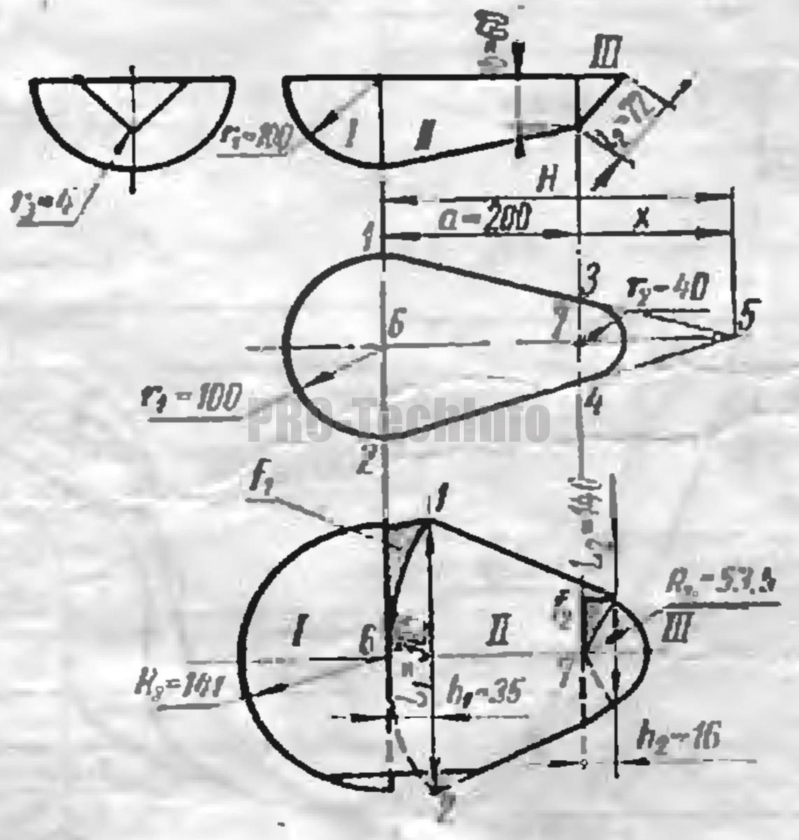 Определение размеров заготовки при вытяжке деталей с одной плоскостью симметрии