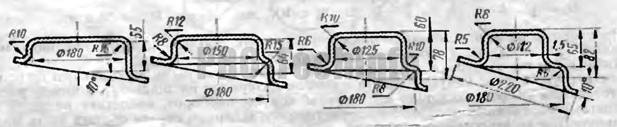 формы и размеры переходов вытяжки сложных деталей с фланцем
