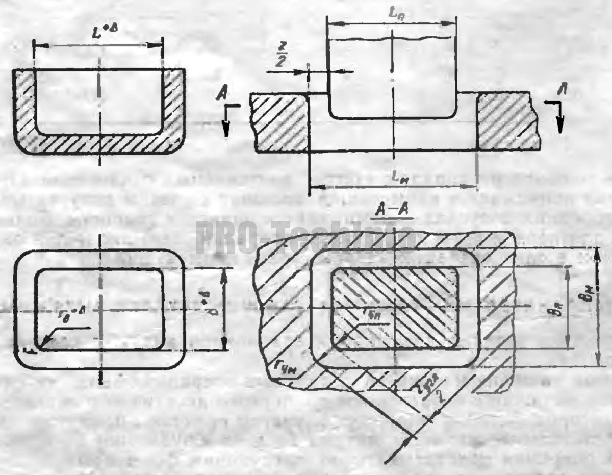 Исполнительные размеры матриц Lм в мм и пуансонов Lп в мм вытяжных штампов на последней операции
