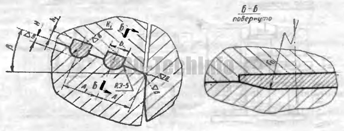 размеры и расположение перетяжных ребер полукруглого профиля