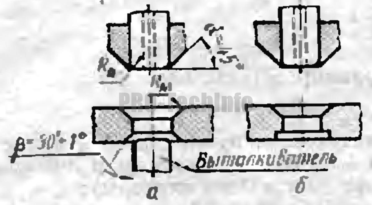 Форма матриц и пуансонов Для последующих операций вытяжки на прессах двойного действия