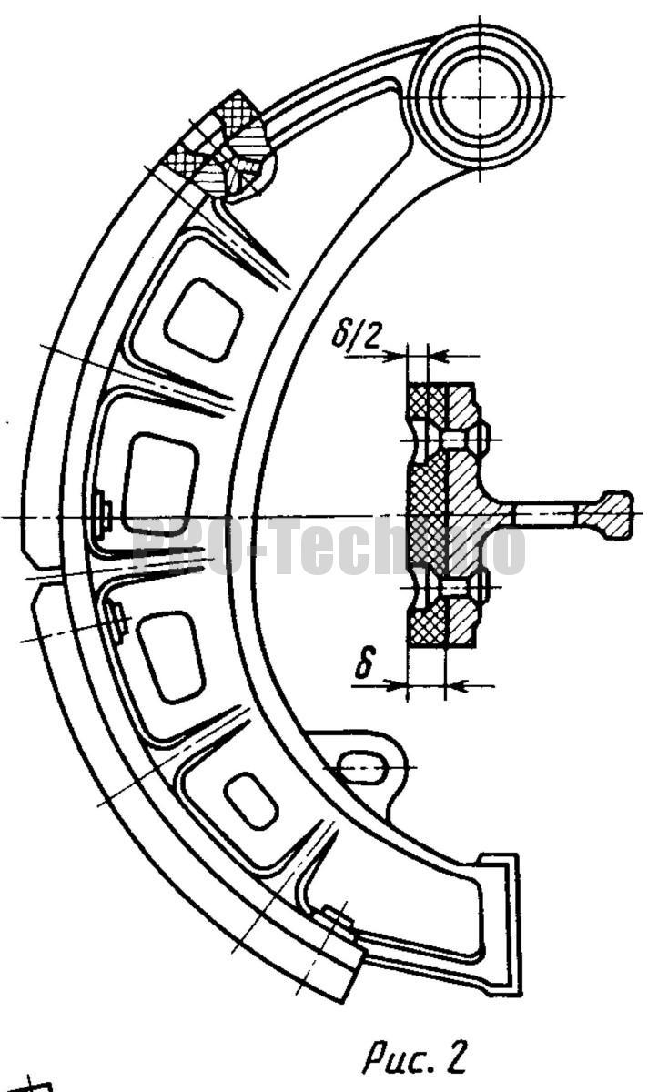 использование заклепок для закрепления фрикционных накладок к колодке тормоза