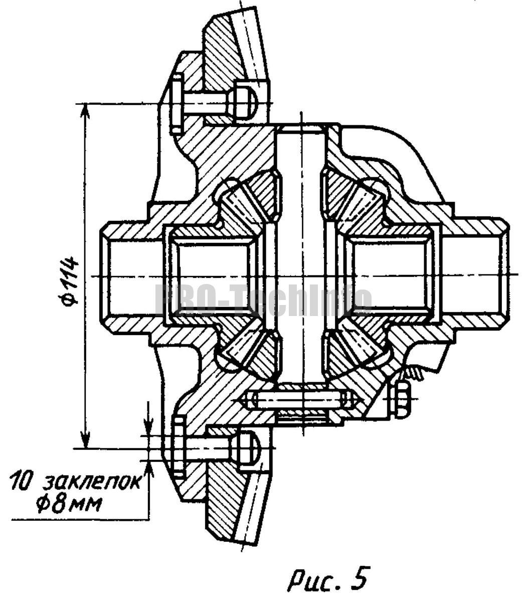 соединение заклепки ведомого конического зубчатого колеса главной передачи автомобиля, выполненной из легированной стали, с литым центром дифференциала