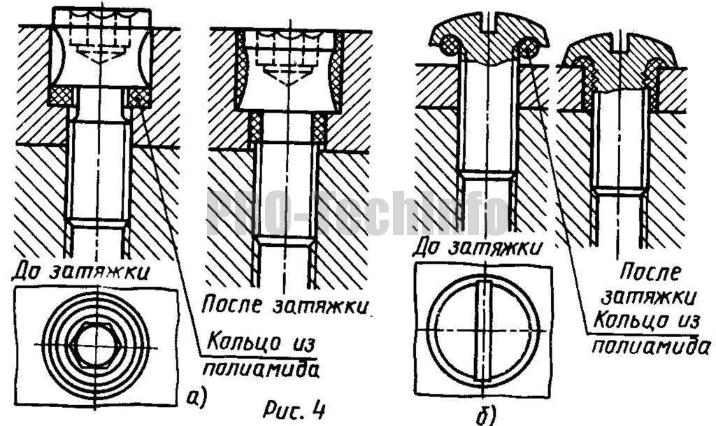 Стопорение винтов пластмассовыми кольцами