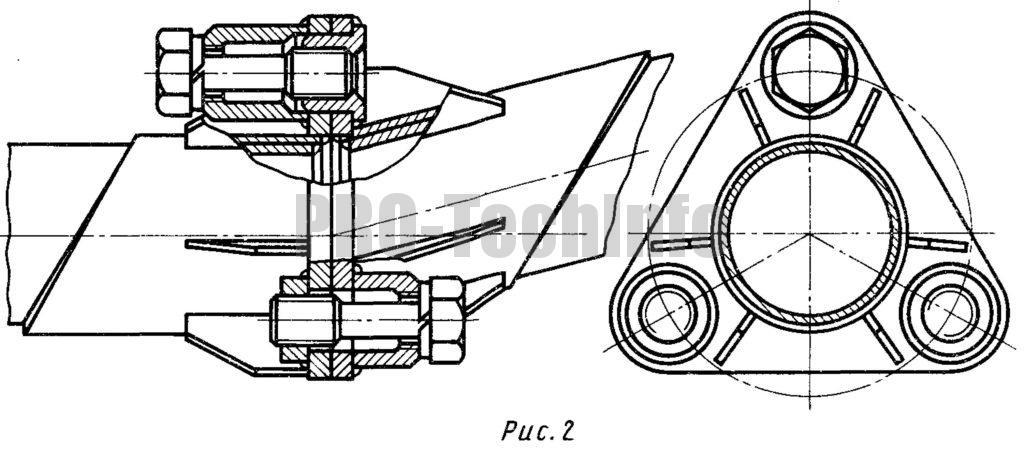 Фланцевое соединение труб винтами (центрирование втулкой)