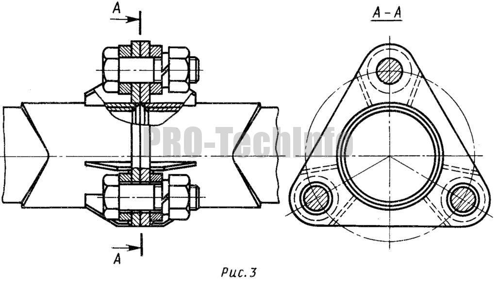 Фланцевое соединение труб болтами (центрирование одним болтом)