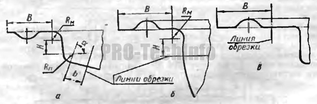 Ширина технологического припуска при вытяжке облицовочных деталей