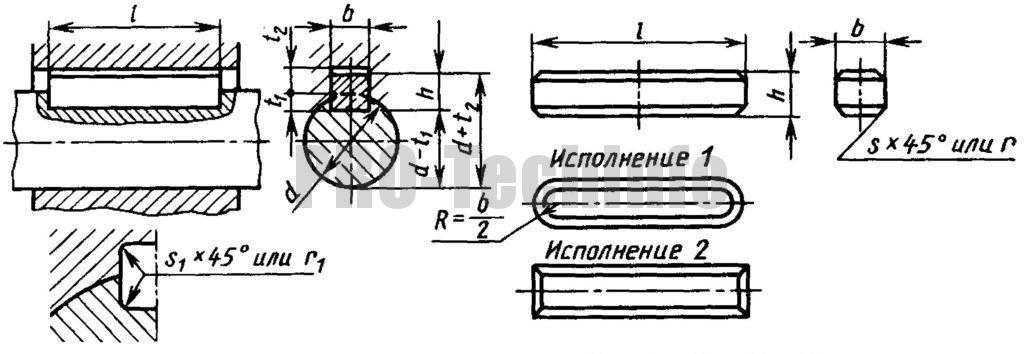 Соединения шпоночные с призматическими высокими шпонками по ГОСТ 10748-79