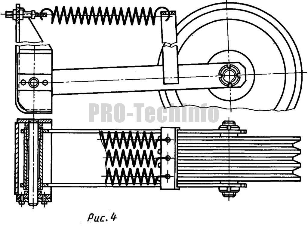 Двуплечий натяжной ротик в клиноременной передаче вибромашины для уплотнения грунта