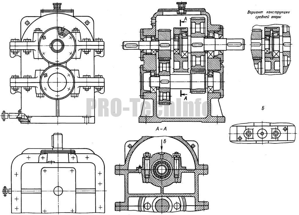 Редуктор цилиндрический двухступенчатый соосный с цилиндрическими колесами чертеж