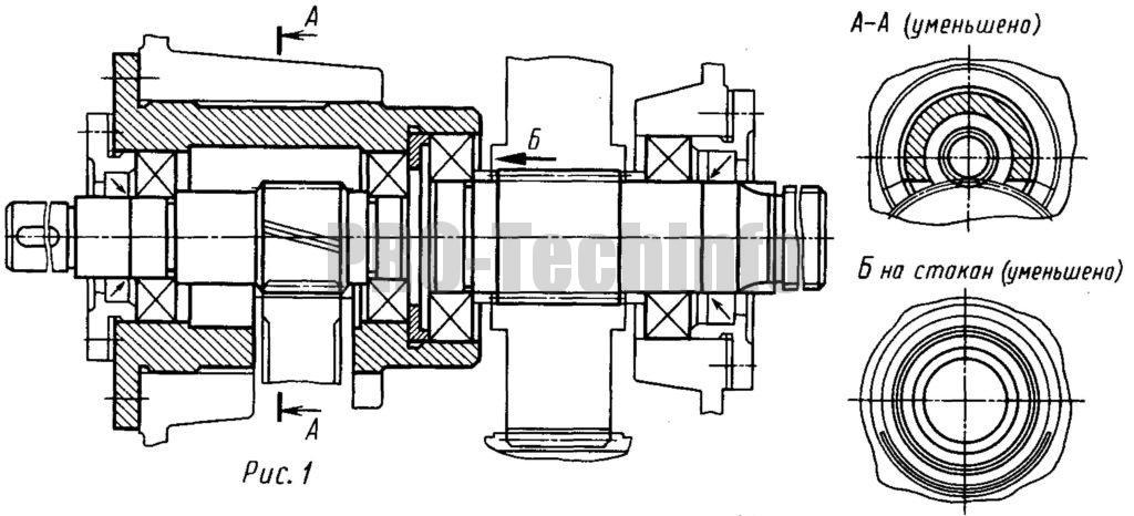 Варианты исполнений опор валов цилиндрического двухступенчатого соосного редуктора