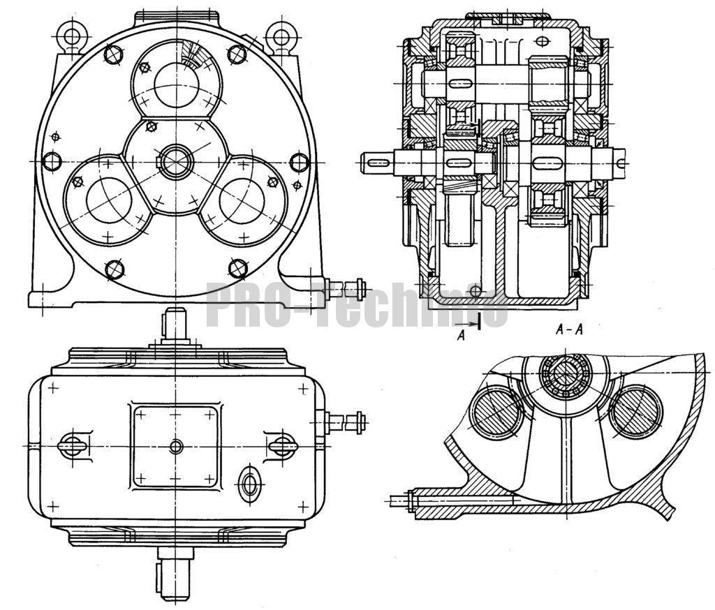 Редуктор двухступенчатый трехпоточный соосный чертеж