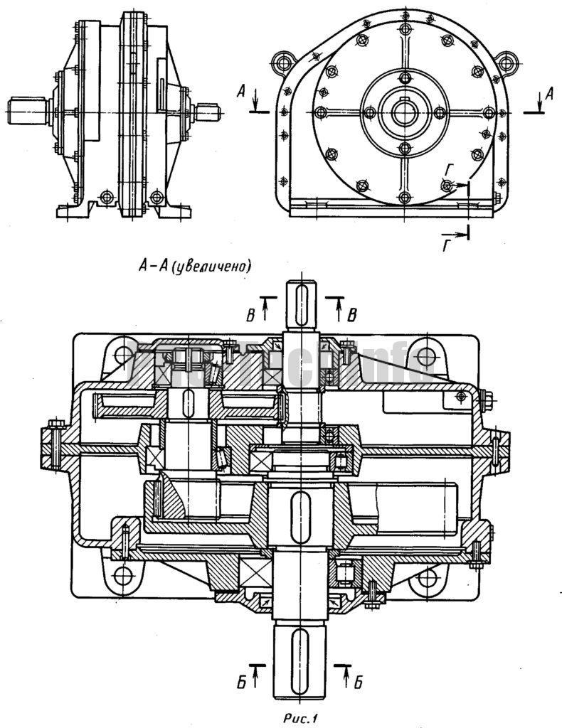 Редуктор соосный цилиндрический с внутренним зацеплением тихоходной ступени чертеж
