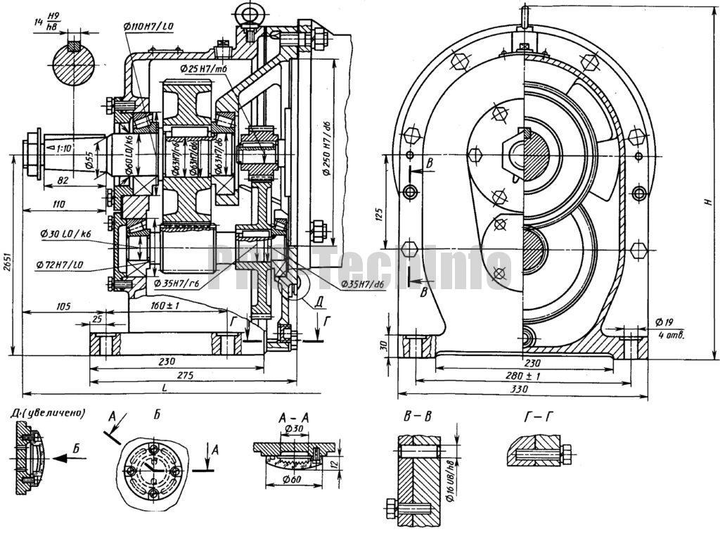 Мотор-редуктор МЦ2С-125 чертеж