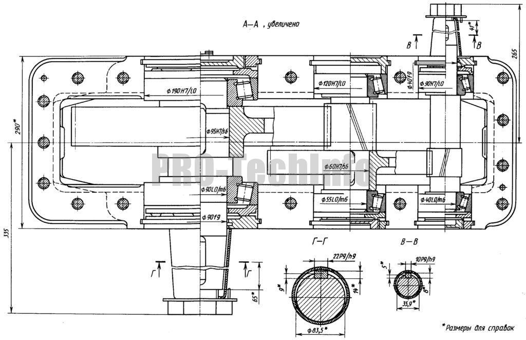 Редуктор цилиндрический двухступенчатый 1Ц2У чертеж