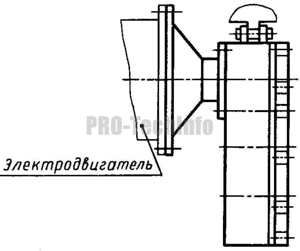 Рабочее положение редуктора Ц3КФ-100