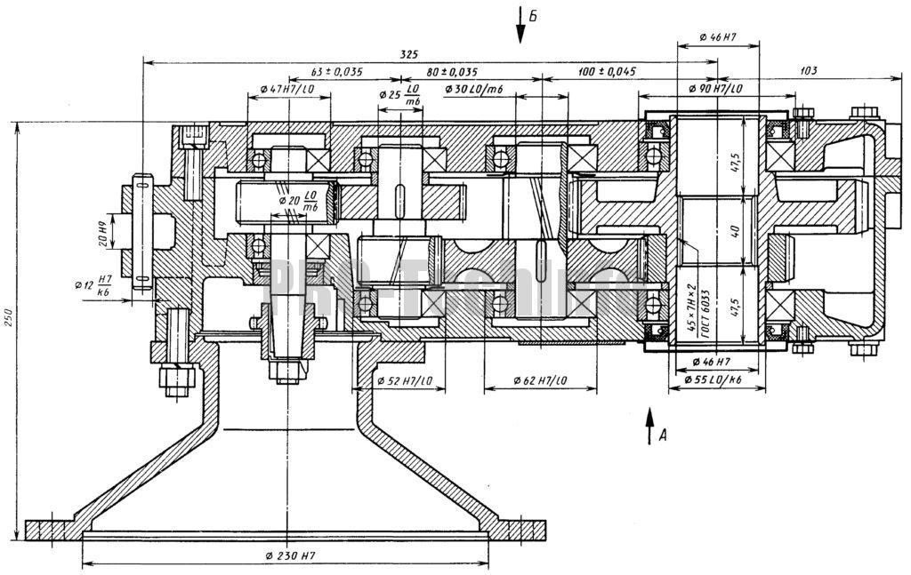 Редуктор Ц3КФ-100 разрез по валам чертеж