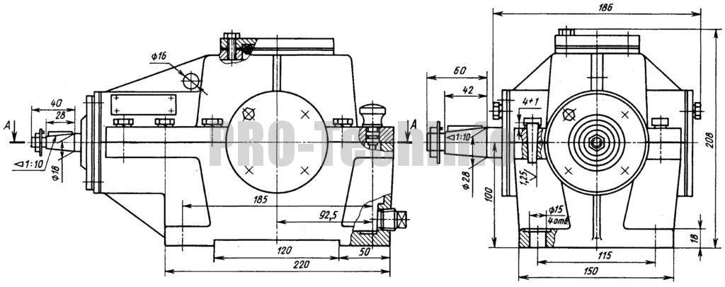 Редуктор конический К-125 чертеж общий вид