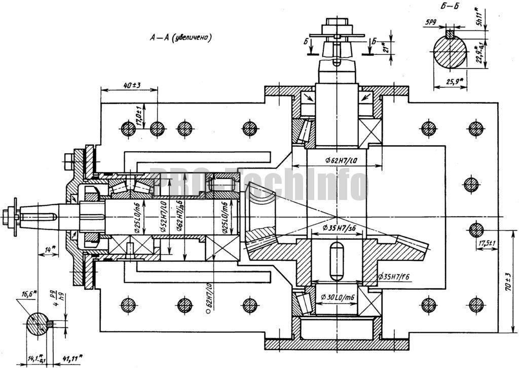 Редуктор конический К-125 чертеж разрез по валам