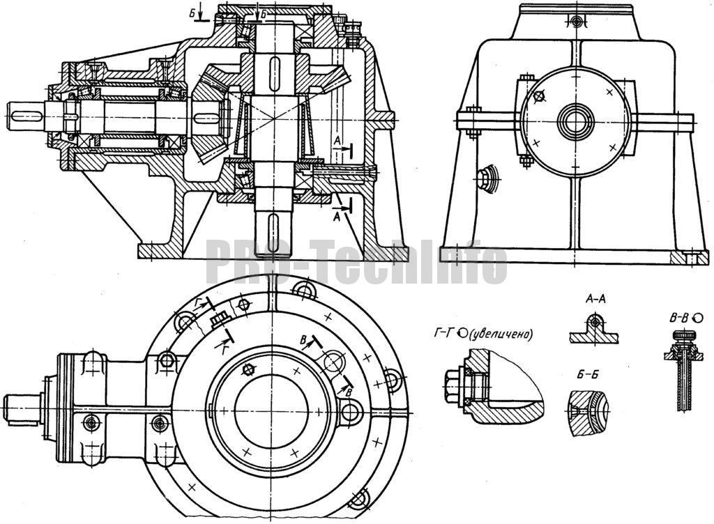 Редуктор конический одноступенчатый с горизонтальным быстроходным и вертикальным тихоходным валами чертеж