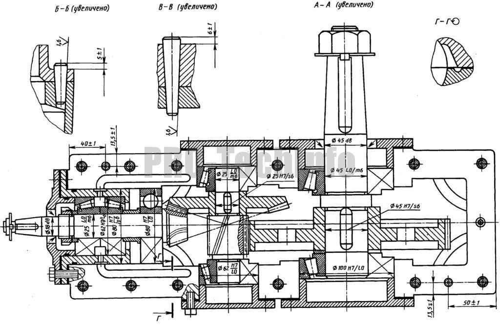Редуктор коническо-цилиндрический разрез по валам чертеж