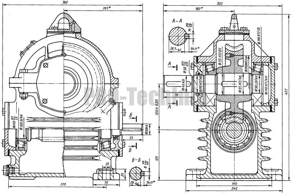 Редуктор червячный Ч-120 чертеж