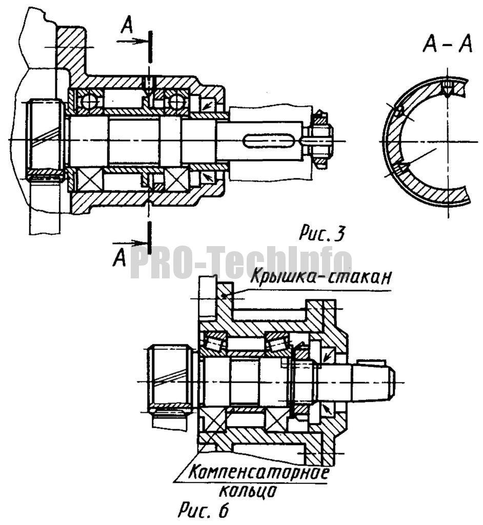 варианты установки подшипников при консольном расположении шестерни относительно опор