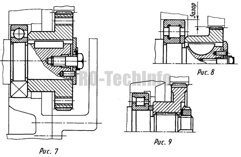 варианты выполнения«плавающей» опоры вала-червяка и способы крепления на его консоли цилиндрического колеса