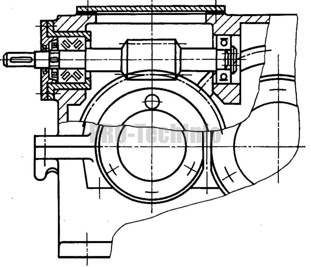 Вариант с верхним расположением червяка чертеж