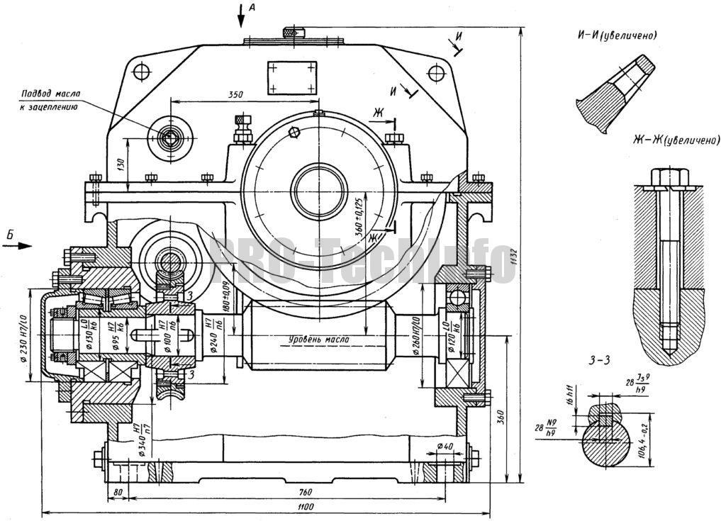 Редуктор двухступенчатый червячный ЧДП-18о/36о общий вид чертеж
