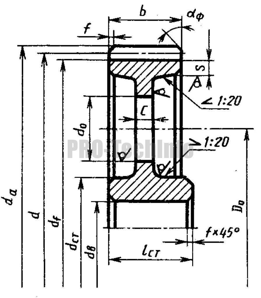Колесо литое (dа≤400 мм) чертеж