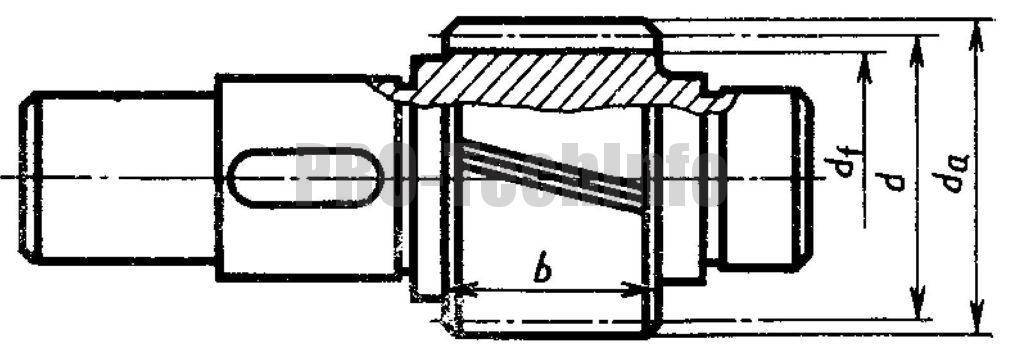 Вал-шестерня тихоходной (промежуточной) ступени чертеж