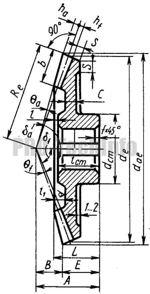 Кованое коническое колесо чертеж