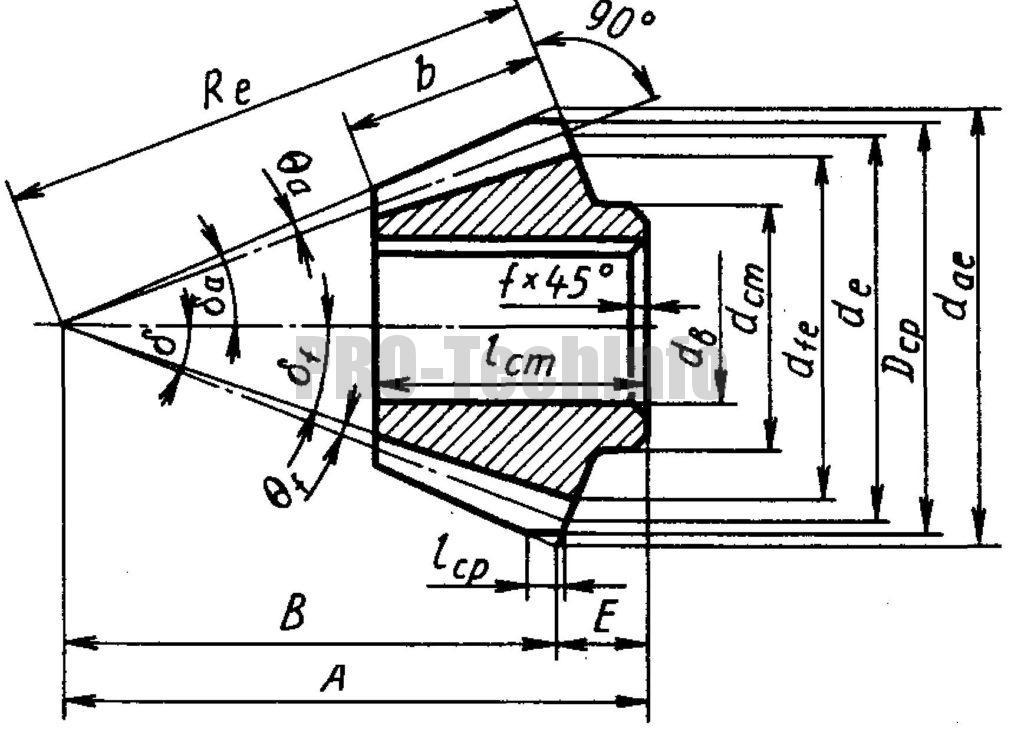 Кованая коническая шестерня чертеж